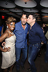 Bold and the Beautiful Ricky Paull Goldin poses with hosts Delaina Dixon (Daily Gals Diva) and Rob Shuter (played himself on Days of Our Lives) of The Gossip Table at the Launch Party to celebrate the new VH1 morning show beginning June 3 - party was on May 30, 2013 at Catch Roof, New York City, New York. (Photo by Sue Coflin/Max Photos)