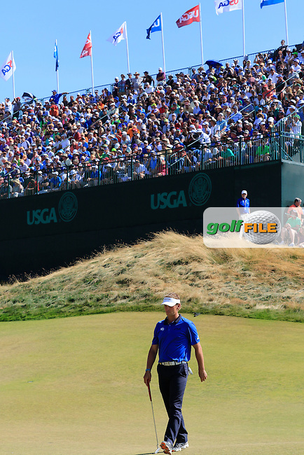 Joost LUITEN (NED) on the 9th green during Saturday's Round 3 of the 2015 U.S. Open 115th National Championship held at Chambers Bay, Seattle, Washington, USA. 6/21/2015.<br /> Picture: Golffile | Eoin Clarke<br /> <br /> <br /> <br /> <br /> All photo usage must carry mandatory copyright credit (&copy; Golffile | Eoin Clarke)