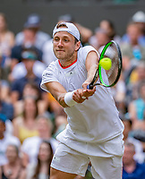 London, England, 6 July, 2019, Tennis,  Wimbledon, Mens single: Lucas Pouille (FRA)<br /> Photo: Henk Koster/tennisimages.com