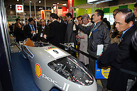 Super-efficient fuel-cell vehicle in the Swiss pavilion (PAC-car II), Fuel Cell Expo, Tokyo Big Site, 27 Feb 2009.The expo is the worlds largest hydrogen and fuel cell event. 26,240 people attended over the 25th to 27th February 2009.