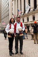 U.S. women national team midfielder Carli Lloyd, and former U.S. Men's National Team star Jeff Agoos pose for a photo outside the NYSE during the centennial celebration of U. S. Soccer at the New York Stock Exchange in New York, NY, on April 02, 2013.