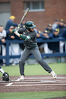 Michigan State Spartans pinch hitter Andrew Morrow (14) at bat in the NCAA baseball game against the Michigan Wolverines on May 7, 2019 at Ray Fisher Stadium in Ann Arbor, Michigan. Michigan defeated Michigan State 7-0. (Andrew Woolley/Four Seam Images)