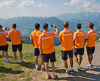 "Austria, Kitzbuhel, Juli 15, 2015, Tennis, Davis Cup, Dutch team, On the way for a photoshoot to the top of the ""Hahnenkam""  enjoying the view<br /> Photo: Tennisimages/Henk Koster"