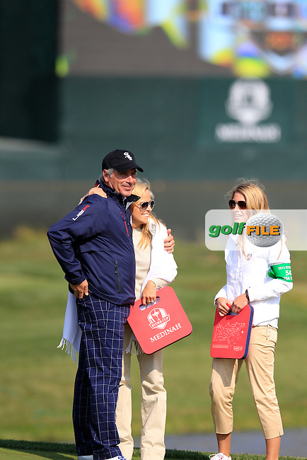 USA's Amy Mickelson and Jillian Stacey celebrate with Vice Captain Fred Couples on the 15th hole after their partners win 4&3 during Friday Morning's Foursomes Matches of the 39th Ryder Cup at Medinah Country Club, Chicago, Illinois 28th September 2012 (Photo Eoin Clarke/www.golffile.ie)