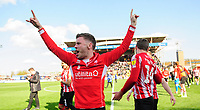 Lincoln City's Shay McCartan celebrates after securing promotion from Sky Bet League Two<br /> <br /> Photographer Chris Vaughan/CameraSport<br /> <br /> The EFL Sky Bet League Two - Lincoln City v Cheltenham Town - Saturday 13th April 2019 - Sincil Bank - Lincoln<br /> <br /> World Copyright &copy; 2019 CameraSport. All rights reserved. 43 Linden Ave. Countesthorpe. Leicester. England. LE8 5PG - Tel: +44 (0) 116 277 4147 - admin@camerasport.com - www.camerasport.com