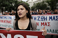 Pictured: A female protester Wednesday 17 May 2017<br /> Re: Clashes between anti fourth memorandum protesters and riot police during 24 hour strike in Athens, Greece