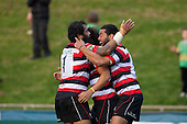 Simon Lemalu and Siale Piutau embrace Tim Nanai Williams after he scored the Steelers third try. ITM Cup Round 1 game between the Counties Manukau Steelers and Otago, played at Bayer Growers Stadium, Pukekohe, on Saturday July 31st 2010. Counties Manukau Steelers won 29 - 13 after leading 22 - 6 at halftime.