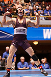 CLEVELAND, OH - MARCH 10: Ryan Epps, of Augsburg, celebrates his win in the 157 weight class during the Division III Men's Wrestling Championship held at the Cleveland Public Auditorium on March 10, 2018 in Cleveland, Ohio. (Photo by Jay LaPrete/NCAA Photos via Getty Images)
