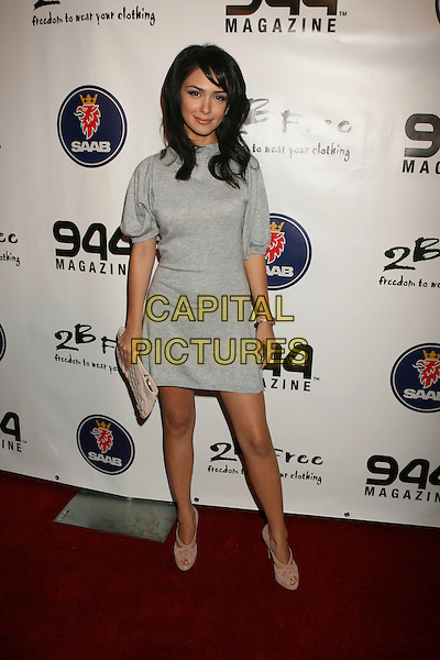 "NAZANIN BONIADI .""2-B Free"" Fashion Show held at Boulevard 3, Hollywood, California, USA, 14 October 2007..2B 2B  full length grey dress gray.CAP/ADM/RE.©Russ Elliot/AdMedia/Capital Pictures."