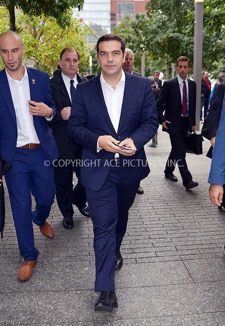 WWW.ACEPIXS.COM<br /> <br /> October 1 2015, New York City<br /> <br /> Greek Prime Minister Alexis Tsipras visits the 9-11 Memorial in Downtown Manhattan on October 1 2015 in New York City<br /> <br /> By Line: Curtis Means/ACE Pictures<br /> <br /> <br /> ACE Pictures, Inc.<br /> tel: 646 769 0430<br /> Email: info@acepixs.com<br /> www.acepixs.com