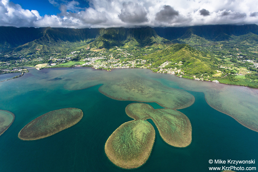 Aerial view of Sand Bars in Kaneohe Bay at Kahalu'u, Oahu