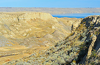 Badlands and Lake Diefenbaker<br /> near Beechy<br /> Saskatchewan<br /> Canada