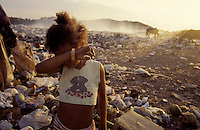 Child labor, poor girl lives and works at dump, Natal city, Rio Grande do Norte State, Brazil.
