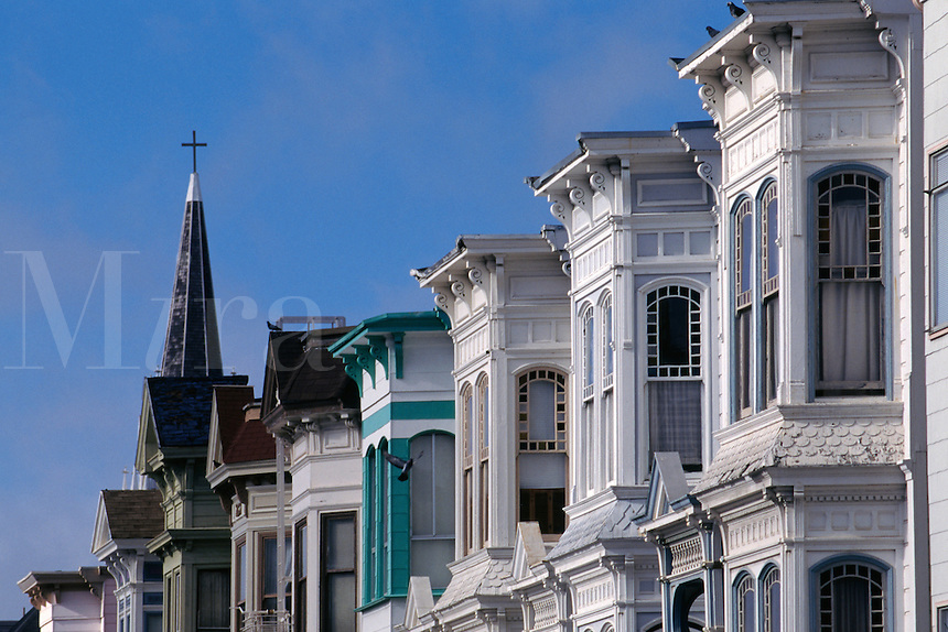 San Francisco, CA; Colorful Victorian Rowhouses In Mission District South Of Market Street (SOMA