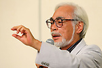 """Hayao Miyazaki, September 6, 2013, Tokyo, Japan: Director Hayao Miyazaki announces his retirement from the animation industry during a press conference in Tokyo, Japan. Miyazaki co-founded studio Ghibli in 1985, after working for Toei Animation. His first movie was  """"Laputa: Castle in the Sky"""" from 1986; since then he worked personally on 11 feature movies. His last movie """"The Wind Rises"""" (Jap: """"Kaze-tachinu"""") which is already a box office hit in Japan, was presented at Venice Film Festival last Sunday September 1st and will be screened worldwide. The movie, about the Japanese aircraft designer Jiro Horikoshi, who designed the Zero, the Japanese fighter plane used in World War Two, is already considered a masterpiece, as well as Miyazaki cultural testament. (Photo by Yusuke Nakanishi/AFLO)"""