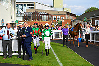 Jockeys Scott McCullagh enter the Pared erg prior to the first race during Evening Racing at Salisbury Racecourse on 25th May 2019