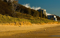 Images of Palisades Nuclear Power Plant as it vents steam into the atmosphere. Images taken from the beach area of Van Buren State Park in southwest Michigan not far from the city of South Haven.