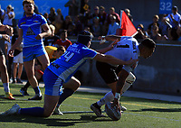 TORONTO, ON - SEPTEMBER 09:  Quentin Laulu-Togaga'e #1 of Toronto Wolfpack scores a try during a Kingstone Press League 1 Super 8s match against Barrow Raiders at Lamport Stadium on September 9, 2017 in Toronto, Canada.  (Photo by Vaughn Ridley/SWpix.com)