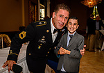 """WATERBURY, CT. 23 May 2018-052318BS93 - 2018 Honoree Sergeant First Class Matthew Docchio stands with his son Joshua, 8, at the Waterbury Veterans Committee's """"Support Our Troops"""" Annual Dinner at the Ponte Club on Wednesday evening. Bill Shettle Republican-American"""