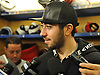 Mika Zibanejad #93 of the New York Rangers speaks to the media at Madsion Square Garden Training Center in Greenburgh, NY on Thursday, May 11, 2017. The Rangers' season ended on Tuesday, May 9 when the team lost to the Ottawa Senators four games to two in the second round of the Stanley Cup Playoffs.