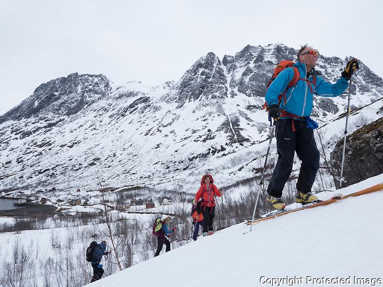 Gruppe av skiløpere på vei opp fra Langfjordhamn mot Langfjordjøkelen. ---- Skiers in spring conditions.