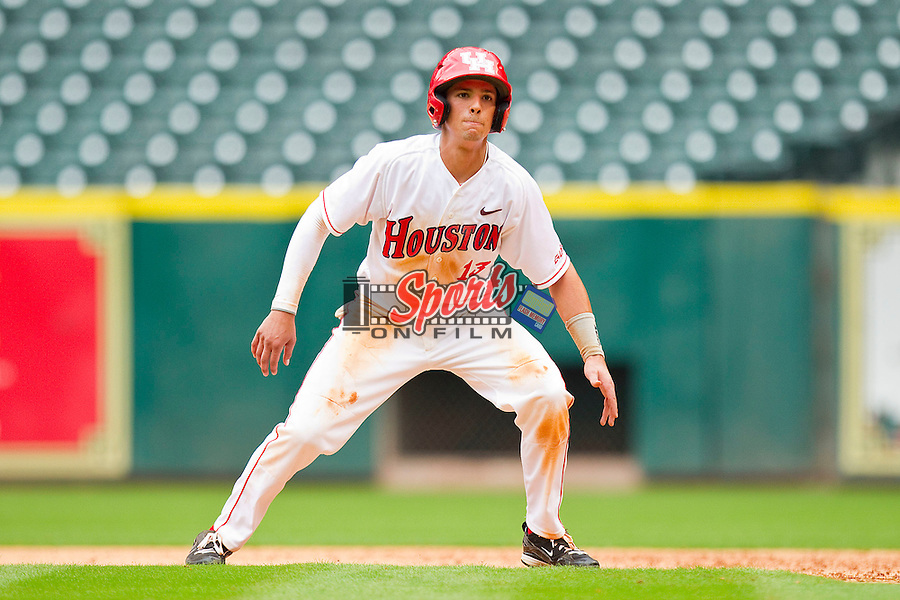 Jake Runte #13 of the Houston Cougars takes his lead off of first base against the Baylor Bears at Minute Maid Park on March 4, 2011 in Houston, Texas.  Photo by Brian Westerholt / Four Seam Images