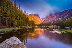 sunrise at Dream Lake on a rainy summer morning in Rocky Mountain National Park, Colorado, USA