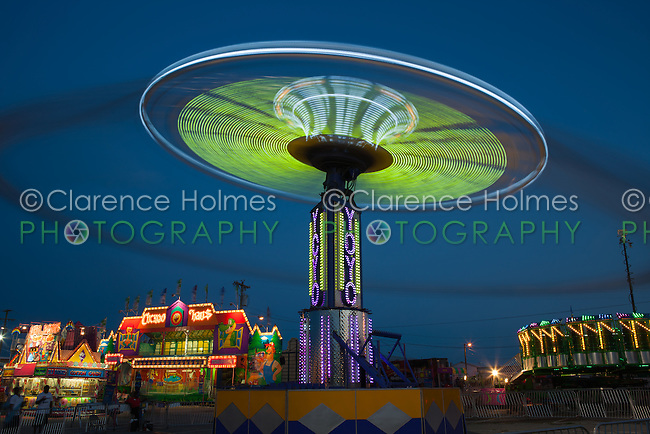 NASHVILLE - September 5: The colorfully illuminated Yo Yo spins on the midway at the Tennessee State Fair on September 5, 2014 at the Tennessee Fairgrounds in Nashville, Tennessee.