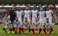 The pre match England U21 photo during the International EURO U21 QUALIFYING - GROUP 9 match between England U21 and Norway U21 at the Weston Homes Community Stadium, Colchester, England on 6 September 2016. Photo by Andy Rowland / PRiME Media Images.