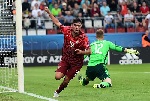 27.06.2015. Andruv Stadium, Olomouc, Czech Republic. U21 European championships, semi-final. Portugal versus Germany.  Ricardo Horta (Portugal) beats Marc-Andre ter Stegen (Germany)for the goal making it 5:0<br />