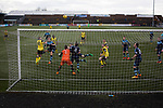 The visitors press for a second-half equaliser at Station Park, Forfar during the SPFL League 2 fixture between Forfar Athletic and Edinburgh City (yellow). It was the club's sixth and final meeting of City's inaugural season since promotion from the Lowland League the previous season. City came from behind to win this match 2-1, watched by a crowd of 446.