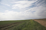 Big sky over fields, Suffolk farming landscape scenery, East Anglia, England