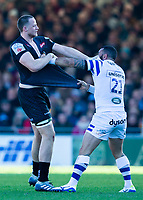 Exeter Chiefs' Jonny Hill and Bath Rugby's Kahn Fotuali'i have a argument<br /> <br /> Photographer Bob Bradford/CameraSport<br /> <br /> Premiership Rugby Cup - Exeter Chiefs v Bath Rugby - Sunday 24th March 2019 - Sandy Park - Exeter<br /> <br /> World Copyright © 2018 CameraSport. All rights reserved. 43 Linden Ave. Countesthorpe. Leicester. England. LE8 5PG - Tel: +44 (0) 116 277 4147 - admin@camerasport.com - www.camerasport.com