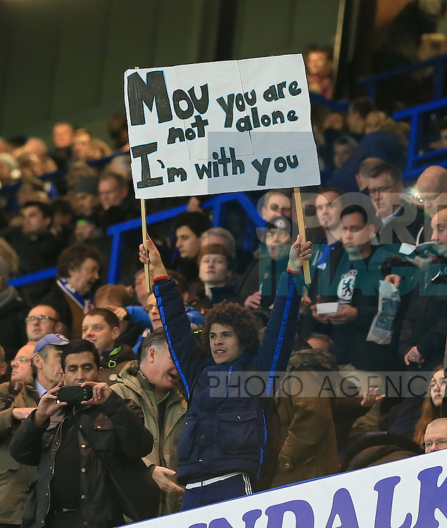A Chelsea fan show his support for Jose Mourinho<br /> <br /> UEFA Champions League - Chelsea v FC Porto - Stamford Bridge - England - 9th December 2015 - Picture David Klein/Sportimage
