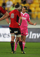 Referee Andrew Lees chats with Kieran Read during the Super 15 rugby match between the Hurricanes and Crusaders at Westpac Stadium, Wellington, New Zealand on Friday, 8 March 2013. Photo: Dave Lintott / lintottphoto.co.nz
