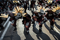 Mexican men, wearing skull masks inspired by Aztecs, dance on the street during the Day of the Dead celebrations in Mexico City, Mexico, 29 October 2016. Day of the Dead (Día de Muertos), a syncretic religious holiday combining the death veneration rituals of the ancient Aztec culture with the Catholic practice, is celebrated throughout all Mexico. Based on the belief that the souls of the departed may come back to this world on that day, people gather at the gravesites in cemeteries praying, drinking and playing music, to joyfully remember friends or family members who have died and to support their souls on the spiritual journey.