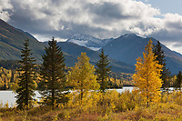 Fresh snow on the peaks of the Chugach mountains, Trail lake, Chugach National Forest, Kenai Peninsula, southcentral, Alaska.