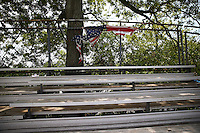 May 30, 2013; Englishtown, NJ, USA: General view of a badly worn American flag hanging in the grandstands at Raceway Park. Mandatory Credit: Mark J. Rebilas-