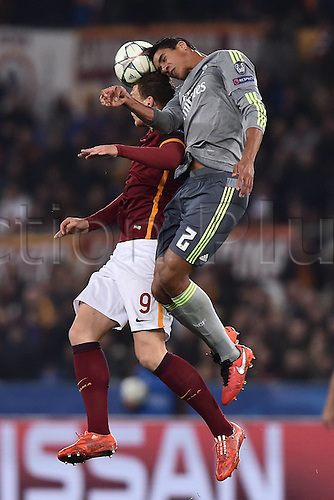 17.02.2016. Stadio Olimpico, Rome, Italy. UEFA Champions League, Round of 16 - first leg, AS Roma versus Real Madrid.   Raphael Varane challenges Edin Dzeko