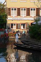 punt boats restaurant terrace little venice 'petite venise' colmar alsace france