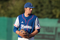 27 july 2010: Nicolas Dubaut of Team France pitches against Germany during Germany 10-9 victory over France, in day 5 of the 2010 European Championship Seniors, in Stuttgart, Germany.