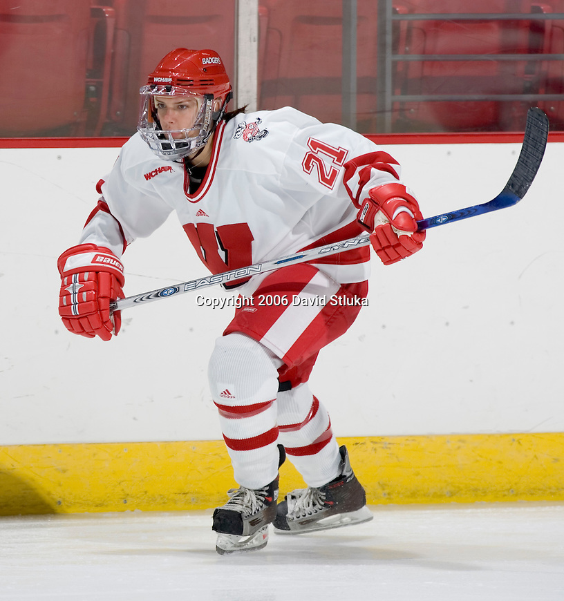MADISON, WI - SEPTEMBER 29: Angie Keseley #21 of the Wisconsin Badgers women's hockey team skates during warmups prior to the game against the Quinnipiac Bobcats at the Kohl Center on September 29, 2006 in Madison, Wisconsin. The Badgers beat the Bobcats 3-0. (Photo by David Stluka)