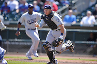 New Orleans Zephyrs catcher Adrian Nieto (17) chases the runner back to third base during the game against the Iowa Cubs  at Principal Park on April 13, 2016 in Des Moines, Iowa.  The Cubs won 9-5 .  (Dennis Hubbard/Four Seam Images)