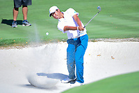 Hideki Matsuyama (JPN) hits from the trap on 4 during round 1 foursomes of the 2017 President's Cup, Liberty National Golf Club, Jersey City, New Jersey, USA. 9/28/2017.<br /> Picture: Golffile   Ken Murray<br /> ll photo usage must carry mandatory copyright credit (&copy; Golffile   Ken Murray)