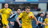Max Kretzschmar of Wycombe Wanderers battles with Lee Brown of Bristol Rovers during the Sky Bet League 2 match between Wycombe Wanderers and Bristol Rovers at Adams Park, High Wycombe, England on 27 February 2016. Photo by Andrew Rowland.