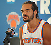 Joakim Noah #13 of the New York Knicks speaks during the team's Media Day held at Madison Square Garden Training Center in Greenburgh, NY on Monday, Sept. 25, 2017.