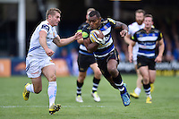 Semesa Rokoduguni of Bath Rugby goes on the attack. Aviva Premiership match, between Bath Rugby and Exeter Chiefs on October 17, 2015 at the Recreation Ground in Bath, England. Photo by: Patrick Khachfe / Onside Images