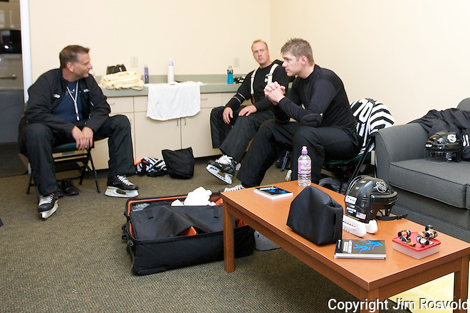 WCHA Referees relaxing before the game.