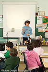 Education Elementary female science specialist using overhead transparency projector to explain concept to class vertical