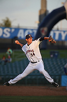 Eric Peterson (34) of the Lancaster JetHawks pitches against the Rancho Cucamonga Quakes at The Hanger on April 19, 2016 in Lancaster, California. Rancho Cucamonga defeated Lancaster, 10-6. (Larry Goren/Four Seam Images)